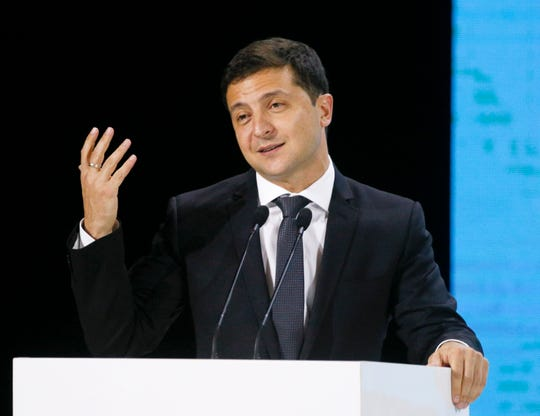 Ukrainian President Volodymyr Zelenskiy speaks during Ukraine Belarus forum in Zhytomyr, Ukraine, Friday, Oct. 4, 2019.