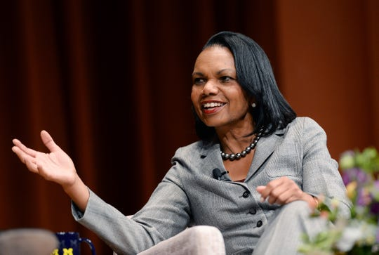 Condoleezza Rice answers a question from moderator Michael S. Barr during their on-stage conversation at Rackham Auditorium at the University of Michigan in Ann Arbor on Friday.