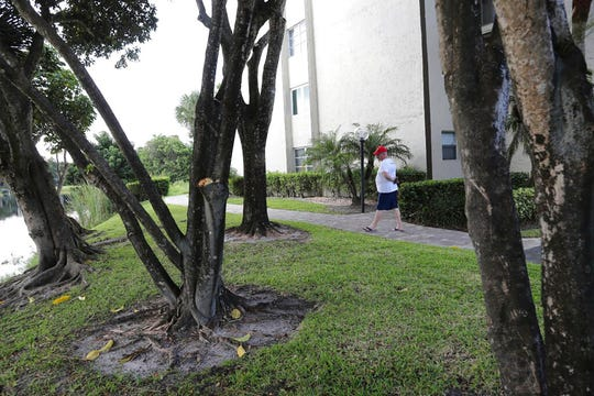 Mark Rousseau walks along the path where a couple claim a bobcat attacked them Friday, Oct. 4, 2019, in Fort Lauderdale, Fla. The woman was hospitalized with serious wounds and her husband was also treated for injuries.