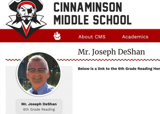 This Oct. 1, 2019 image made from the Cinnaminson, N.J., Middle School website shows part of a page for Joseph Michael DeShan.