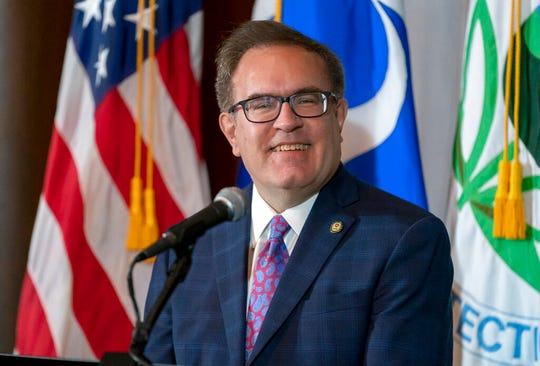 Environmental Protection Agency administrator Andrew Wheeler speaks at EPA headquarters in Washington, Wednesday, Sept. 18, 2019.