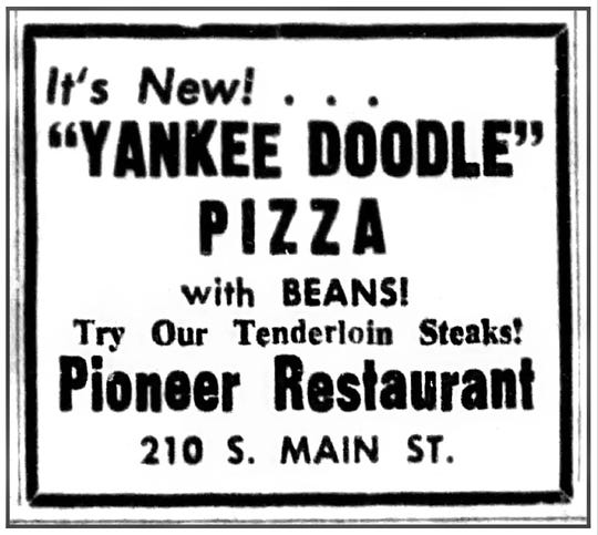 An ad for Yankee Doodle Pizza at the Pioneer Restaurant in the Star-Gazette, Dec. 21, 1954