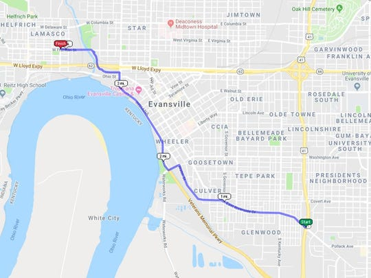Evansville resident Andrew Smith and more than 10 people took on the Evansville 5-Gallon Challenge Saturday morning by walking four miles across Evansville while carrying 50 pounds of water each.