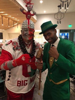 "Jon ""Big Nut"" Peters poses with the Samuel Jackson, the Notre Dame Fighting Irish Leprechaun mascot, in California during an ESPN commercial shoot from July 30 through Aug. 2."