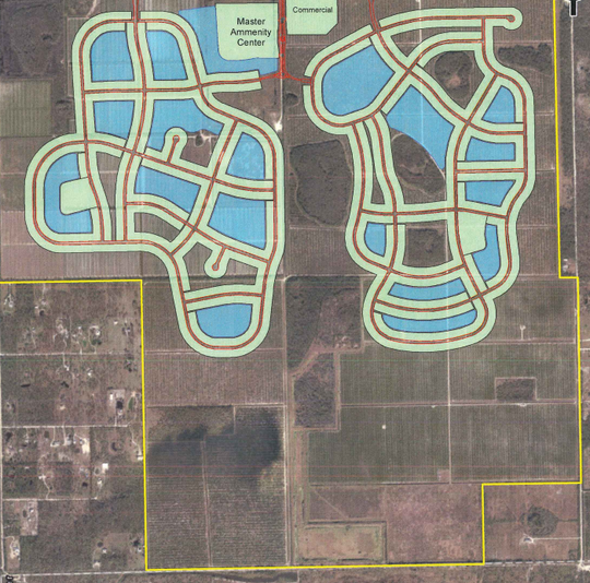 Verdana Village, a proposed development off Corkscrew Road, combines two previously approved projects, Pepperland and Verdana. The developer has reconfigured the property to move 2,100 units of housing closer to the Corkscrew Road, which as the effect of moving it away from the Audubon Corkscrew Swamp.