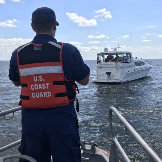 A Coast Guard Station Fort Myers Beach 45-foot Response Boat—Medium Law Enforcement-boat crew terminated the voyage of a 48-foot uninspected passenger vessel with eight passengers aboard Thursday, Oct. 3, 2019. The vessel was located in the vicinity of San Carlos Bay, Florida.