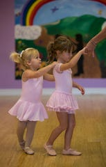 From left, Susanna English, 2, and Makenley Wells, 3, practice a dance  at Kelly's Dance studio in Cape Coral. After running studios in West Palm Beach and South Carolina, Kelly Sigler, owner and instructor, returns to her roots and celebrates six years in The Cape.