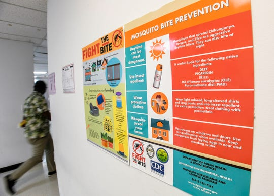 A poster on mosquito bite prevention is displayed in a hallway at the Department of Public Health and Social Services in Mangilao on Friday, Oct. 4, 2019.