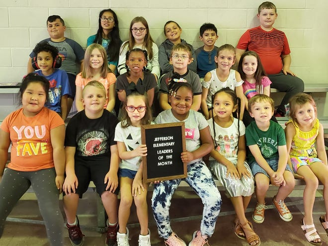 Leaders of the Month for Jefferson Elementary are: Back row from left: Sid Roberts, Litzy Mikan-Juarez, Miley Powell, Ma'Laikye Taylor, and Christian Mikan-Juarez, Liam Morgan. Middle row: Jai'kel Dixon, Kaylee Walker, Rineice Green, Ethan Kincade, Adalyn Spears, and Adalynn Hazel. Front row: Jiaxin Wu, Phoenix Adams, Hollan-Monroe Clifford, Alayah Carter, Dallas Garner, Henrick Ledang, and Jordan Gish. Not pictured: Jaeyla Hill