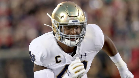 Notre Dame defensive lineman Julian Okwara has grown into a leader this year, coach Brian Kelly says.