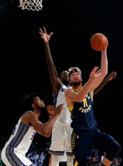 """The Pacers' Domantas Sabonis """"looked solid with better weapons around him,"""" IndyStar Insider J. Michael writes.  . (AP Photo/Rajanish Kakade)"""