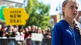 """Activist Greta Thunberg speaks during the strike for a """"Town-Gown Climate Accord"""" hosted by the Iowa City Climate Strikers, Oct. 4, 2019."""