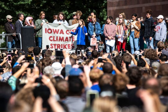"Climate activist Greta Thunberg speaks during the ""Town-Gown Climate Accord"" hosted by the Iowa City Climate Strikers, Friday, Oct., 4, 2019, at the intersection of Dubuque Street and Iowa Avenue in downtown Iowa City, Iowa."