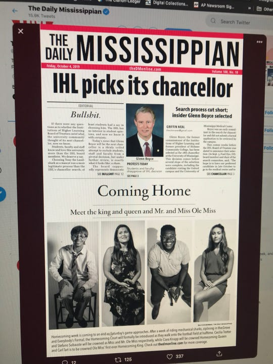 This is the Friday, Oct. 4, 2019, front page of The Daily Mississippian, the student newspaper at Ole Miss.