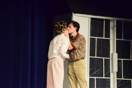 "The play opens with Shelby (Alex Miller) and Jackson (Evan Boswell) talking about their upcoming wedding and the possibility of having children. ""Steel Magnolias"" at Hardin Valley Academy Sunday, Sept. 29, 2019."