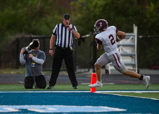 Bearden's Collin Ironside (2) scores a touchdown during the Hardin Valley and Bearden high school football game on Thursday, October 3, 2019 at Hardin Valley Academy.