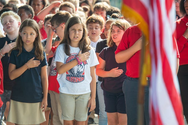 Memorial service for Cpl. Michael Middlebrook at the school that bears his name, Cpl Michael Middlebrook Elementary in Lafayette, LA. Friday, Oct. 4, 2019.