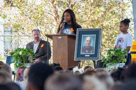 Bianca Washington speaking at Memorial service for Cpl. Michael Middlebrook at the school that bears his name, Cpl Michael Middlebrook Elementary in Lafayette, LA. Friday, Oct. 4, 2019.