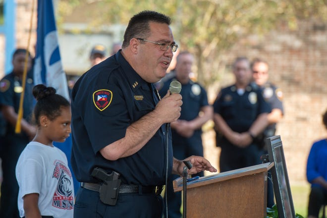 Chief of Police Toby Aguillard speaking at Memorial service for Cpl. Michael Middlebrook at the school that bears his name, Cpl Michael Middlebrook Elementary in Lafayette, LA. Friday, Oct. 4, 2019.