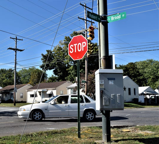 A car turns onto Hubert Avenue from S Broad Street in Lancaster. The city recently installed the stop signs on Hubert and changed the lights so north- and south-bound traffic do not have to stop. Neighborhood residents are concerned for pedestrian safety.