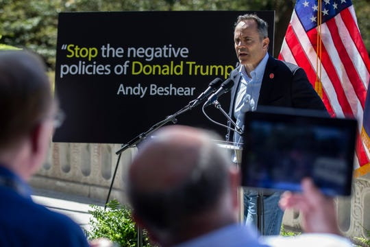 Bevin used an Andy Beshear quote to make his point regarding his opponent's level of support for the president.