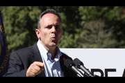 Gov. Matt Bevin held a press conference outside the Governor's Mansion in Frankfort.