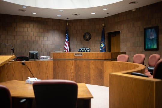 The courtroom of 55th District Court Chief Judge Thomas P. Boyd in Mason, Michigan.