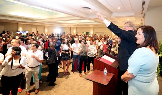 Memphis Mayor Jim Strickland waves to supporters after giving his acceptance speech on Thursday, Oct. 3, 2019, at the Memphis Botanic Gardens in East Memphis.