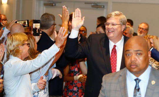 Memphis Mayor Jim Strickland enters the ballroom at the Memphis Botanic Gardens in East Memphis on Thursday, Oct. 3, 2019 after being re-elected.