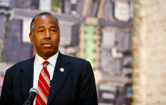 Housing and Urban Development Secretary Ben Carson speaks at an event celebrating the Union Row development and talk about the importance of Opportunity Zones incentives in Downtown Memphis, Tenn., on Friday, Oct. 4, 2019.