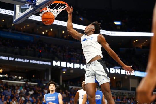 James Wiseman dunks the ball during Memphis Madness held Thursday, Oct. 3, 2019 at FedExForum in Memphis, Tenn.