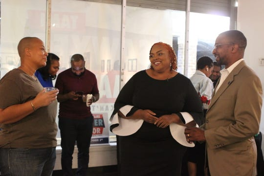 Shelby County Commissioner Tami Sawyer greets supporters at her mayoral watch party on Oct. 3 at The Collective CMPLX in Orange Mound.