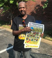Cedric Callahan, 57, holds voting literature at the Mt. Nebo Baptist Church voting precinct. Callahan says he has been voting since age 18 and working the polls since 1981 after being inspired by Harper Brewer Jr., the first African American to serve as Speaker Pro-Tem of the Tennessee House of Representatives.
