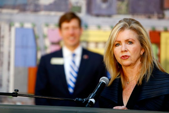 U.S. Sen. Marsha Blackburn speaks about Opportunity Zone incentives at Downtown Memphis in October 2019.