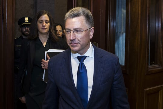 Former Special Envoy to Ukraine Kurt Volker departs after a closed-door deposition led by the House Intelligence Committee on Capitol Hill on Thursday.