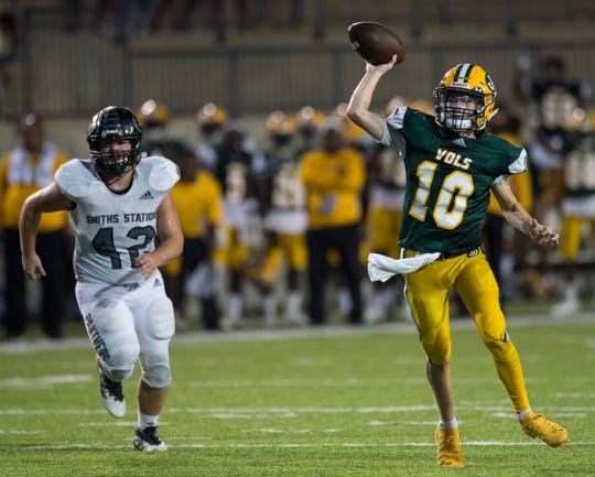 Jeff Davis' Chase Ford (10) throws the ball at Cramton Bowl in Montgomery, Ala., on Thursday, Oct. 3, 2019. Jeff Davis defeated Smiths Station 31-14.