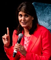 Nikki Haley, former United States Ambassador to the United Nations, speaks at the Faulkner University benefit dinner in Montgomery, Ala.,  on Thursday October 3, 2019.