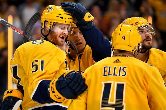 Nashville Predators left wing Austin Watson (51) celebrates his goal against the Minnesota Wild during the third period at Bridgestone Arena in Nashville, Tenn., Thursday, Oct. 3, 2019.