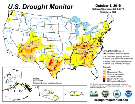 U.S. Drought Monitor report released Thursday, Oct. 3, 2019 shows extreme drought conditions in parts of Texas, Alabama, Georgia, Kentucky, South Carolina and the Florida panhandle.