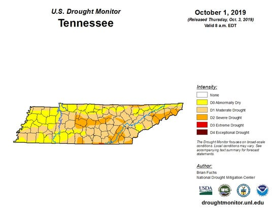 Parts of Tennessee are experiencing severe drought conditions according to the U.S. Drought Monitor.