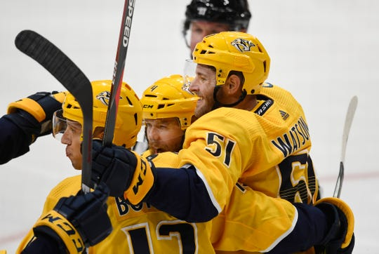 Nashville Predators left wing Austin Watson (51) celebrates his goal during the third period at Bridgestone Arena in Nashville, Tenn., Thursday, Oct. 3, 2019.