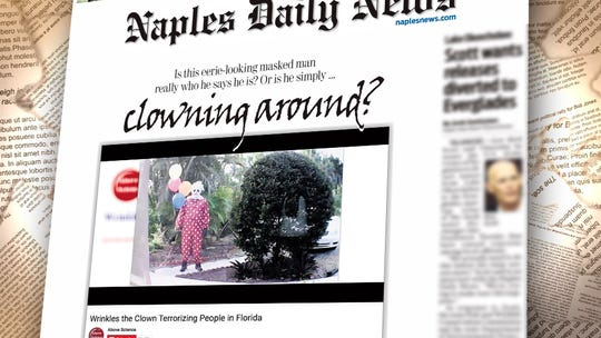 Wrinkles the Clown front page of Naples Daily News