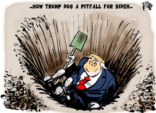 Trump digs pitfall for Biden.