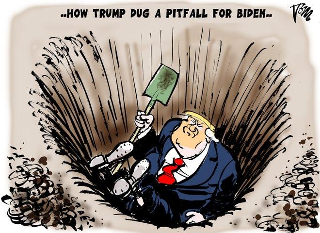Trump digs pitfall for Biden.