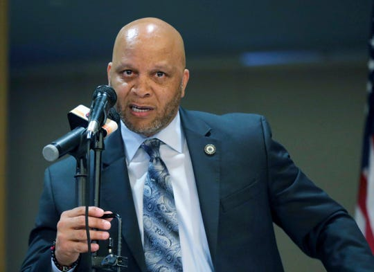 In an April 23, 2019 file photo, Atlantic City Mayor Frank Gilliam Jr. speaks at the Atlantic City Implementation Plan. Gilliam Jr. has resigned, Thursday, Oct. 3, 2019, after pleading guilty to defrauding a youth basketball club out of $87,000. (Craig Matthews/The Press of Atlantic City via AP, File)