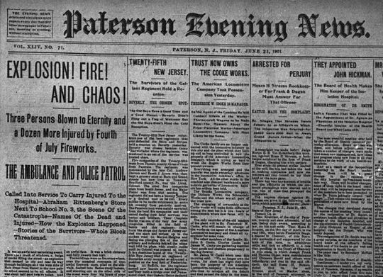 Paterson Evening News reporting Paterson fireworks fire in 1901.