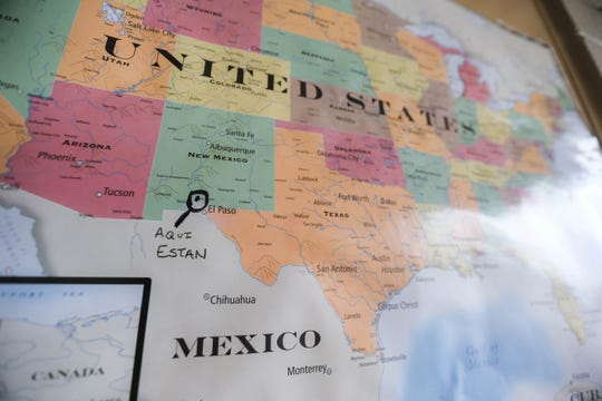 A map on display at the Las Cruces, New Mexico shelter for asylum seekers on Friday, Oct. 4, 2019.