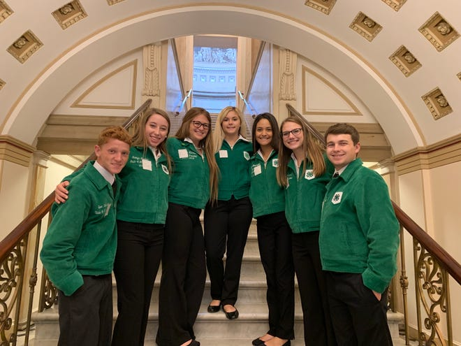 At the annual New Mexico State 4-H conference, leaders were elected to serve and represent New Mexico and the organization for the year. The 2019-2020 officers, from left, are Evan Webster, Kaitlyn Kircher, McKenzie Luna, Taylor Moore, Helena Ramirez, Alyssa McAlister and Randy Halvorsen.