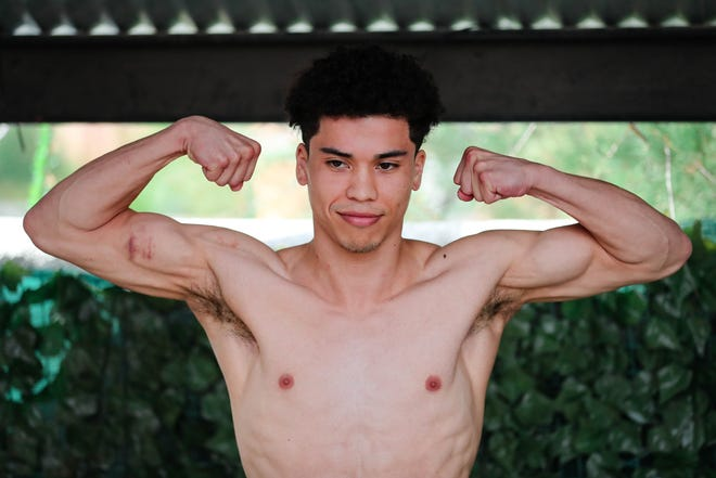 Abel Mendoza weighs in at The Game Sports Bar and Grill in Las Cruces on Friday, Oct. 4, 2019 for the pro boxing card at the Vado Speedway in Vado on Saturday.