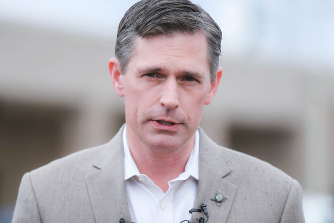 U.S. Sen. Martin Heinrich, D-NM speaks out front of a U.S. Border Patrol Station in Las Cruces on Friday, Oct. 4, 2019.